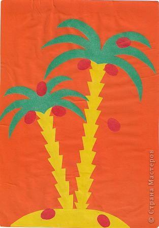 """Делаем аппликацию из цветной бумаги """"Тропическая пальма"""""""