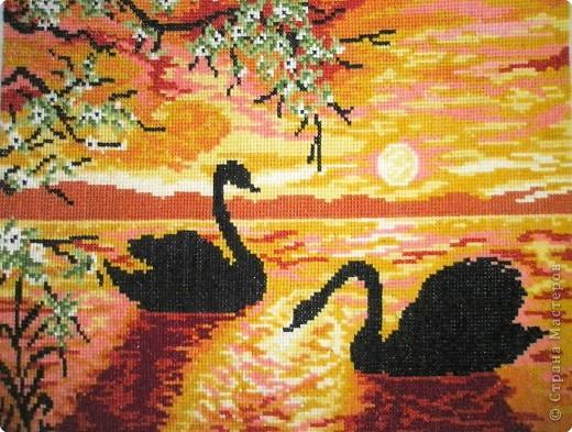 лебеди лебеди крестом вышивка