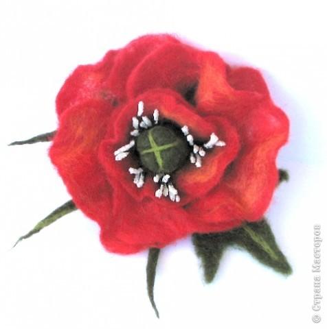 Украшение Валяние (фильцевание): валяные цветы Шерсть.  Фото 4.