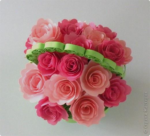 Поделка, изделие,  Квиллинг, : Корзина роз!!!! Бумага . Фото 2
