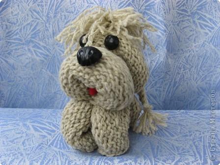 Игрушка Вязание спицами: Песик – черный носик. Шерсть. Фото 2