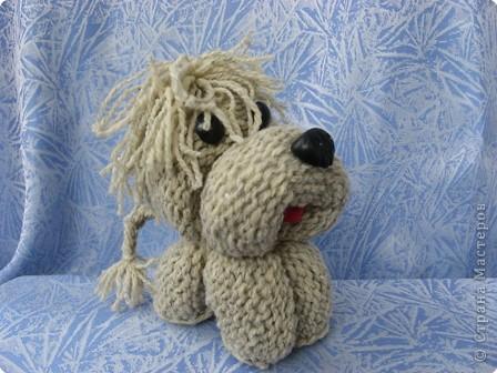 Игрушка Вязание спицами: Песик – черный носик. Шерсть. Фото 1