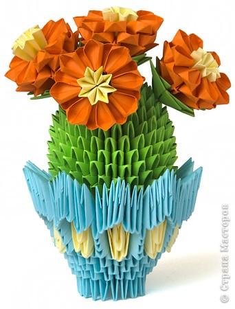 Оригами модульное: Цветущий кактус из модулей