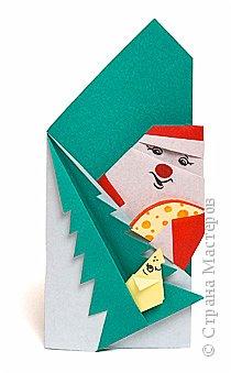 Оригами: Дед Мороз с сыром и мышка под ёлкой