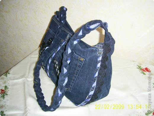 Гардероб Шитьё: Сумка из старых джинсов Материал бросовый.  Фото 2.