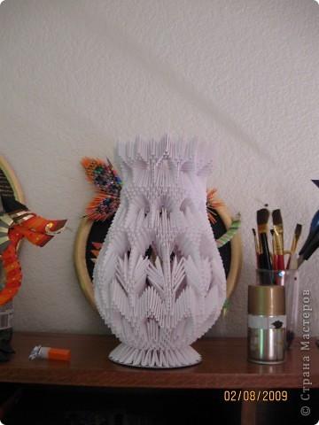 Оригами модульное ваза, схема сборки.