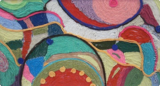 Коллективная работа Вязание крючком: Нетканый гобелен Нитки.  Фото 6.