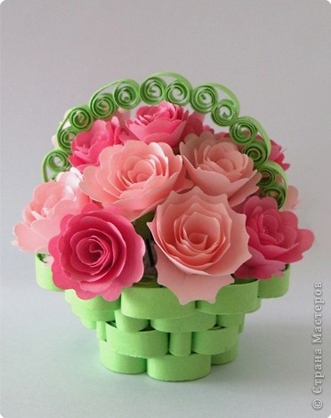 Цветы в корзинке из бумаги своими руками