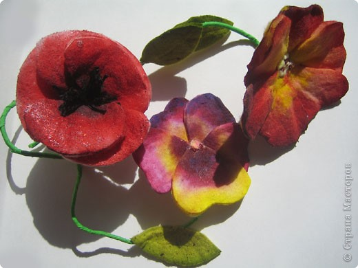 flowers from cotton disk