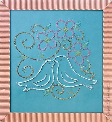 Поздравление Изонить: Любовь? Картон, Нитки. Фото 1