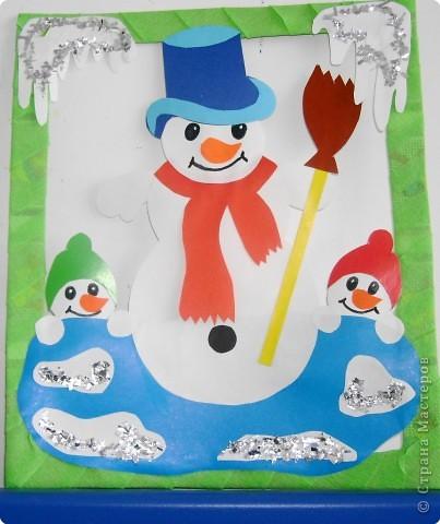 Снеговик из цветной бумаги своими руками аппликация 69