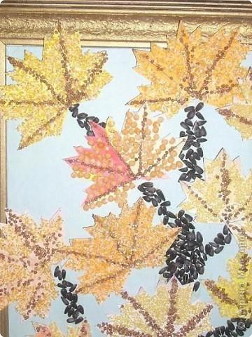 Поделки для осени из крупы и листьев
