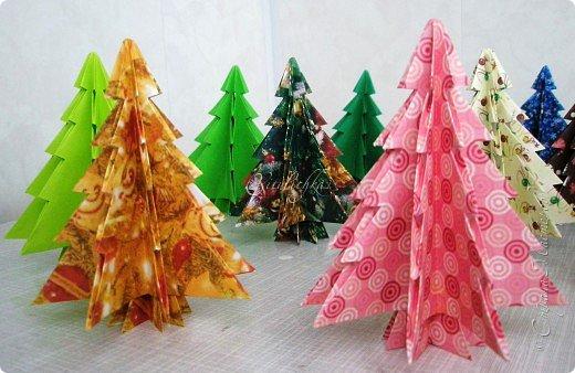 Поделка, изделие Оригами: Разноцветные ёлочки Бумага Новый год.
