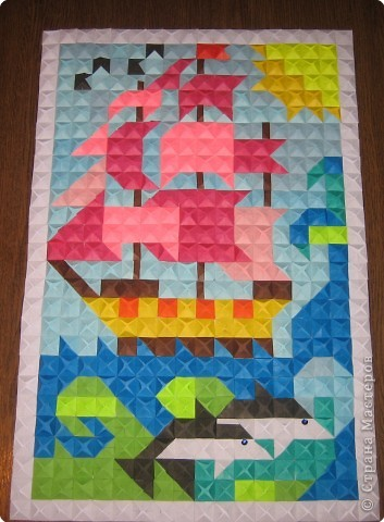 Картина, панно Мозаика, Оригами модульное: Алые паруса Бумага. Фото 1