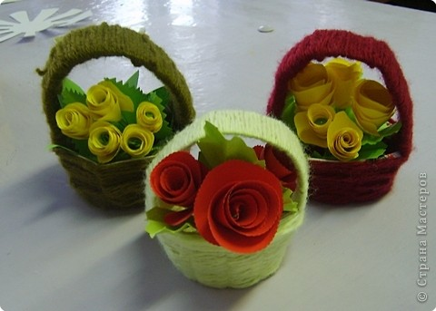 Поделка Плетение: Корзиночки Бумага, Картон, Нитки. Фото 1