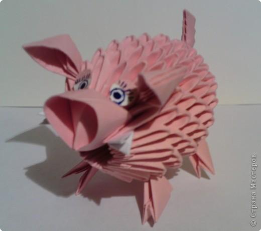 модульное оригами поросенок схема сборки