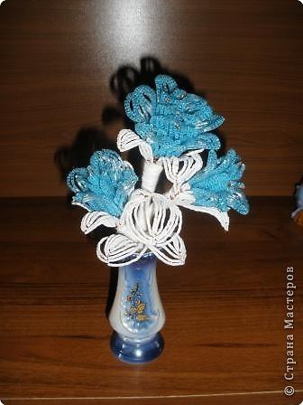 Поделка, изделие Бисероплетение: синяя роза Бисер.  Фото 2.