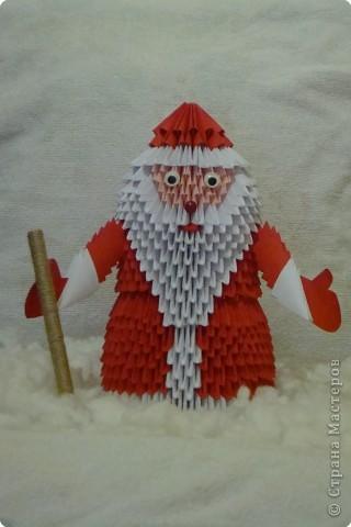 Мастер-класс Оригами модульное: Дед Мороз из модулей (с посохом) Бумага Новый год