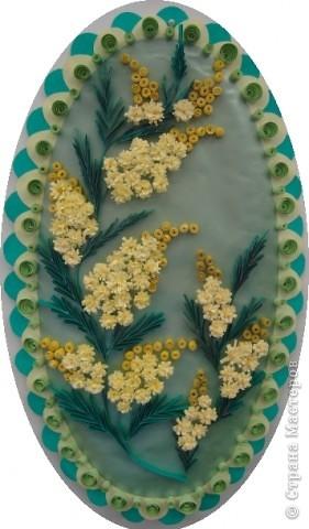 Панно Квиллинг: Мимоза. Бумага 8 марта, День матери, День рождения. Фото 1