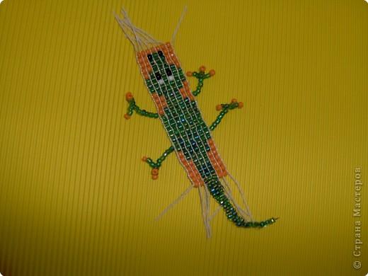 Бисероплетение: Крокодил.Плетение на станке.  Бисер.  Фото 2.