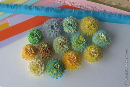 Мастер-класс Квиллинг: МК бахромчатые цветы Бумага. Фото 12