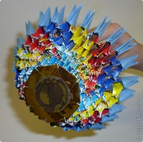 Мастер-класс Оригами модульное: МК ЗОНТИК. Модульное оригами. Бумага. Фото 3