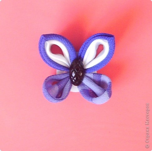 Мастер-класс, Украшение,  Цумами Канзаши, : Мастер-класс. Бабочка. Канзаши. Ткань . Фото 12