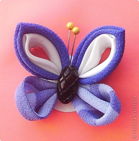 Мастер-класс, Украшение,  Цумами Канзаши, : Мастер-класс. Бабочка. Канзаши. Ткань . Фото 1