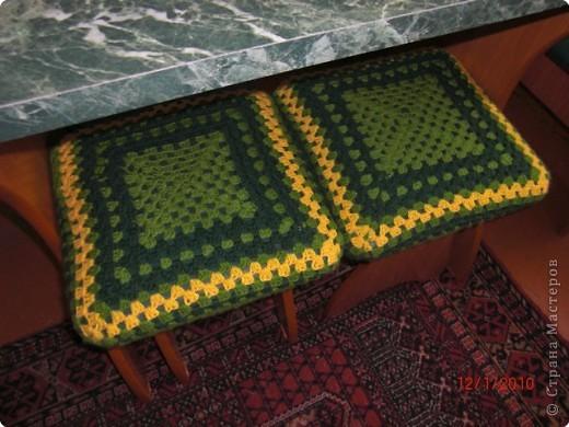 Вязание крючком: чехлы на табуретки Пряжа.