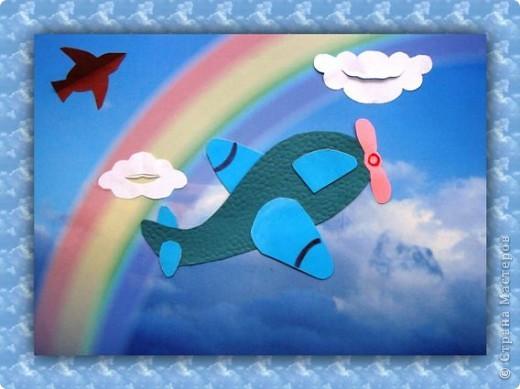 Аппликация из цветной бумаги «Самолет под облаками