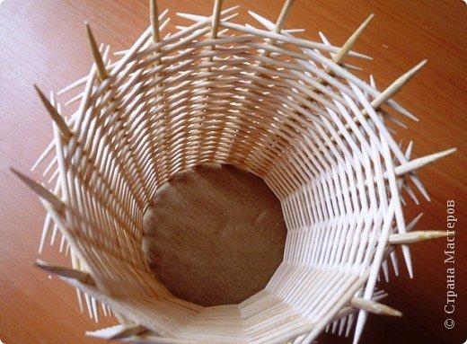 Ваза из зубочисток - Корзинка рукоделия