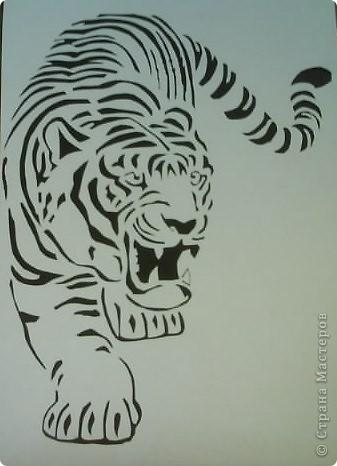 Картина, панно Вытынанка: ТИГР Бумага.