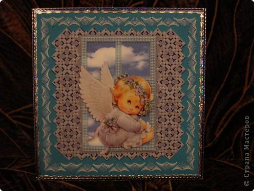 Открытка Изонить: 11 Открыток с ангелочками Бумага День рождения. Фото 11