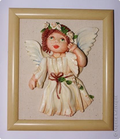 Лепка: Ангелочек с веночком Тесто соленое Валентинов день, Пасха, Рождество. Фото 1