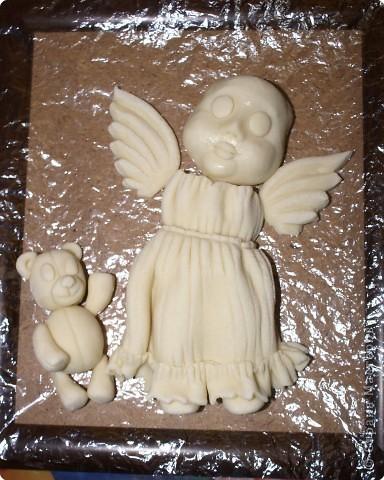 Мастер-класс Лепка: Ангелочек с мишкой Тесто соленое Валентинов день, Рождество. Фото 20