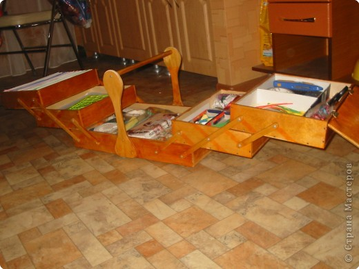 Материалы и инструменты: переносной ящик для рукоделия Фанера. Фото 3