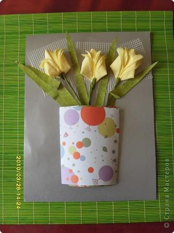 Мастер-класс Аппликация:  МК. Ода о  тюльпане...и  салфетках Салфетки 8 марта. Фото 1