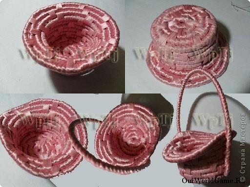 ...Плетение: МК декоративная корзинка из веревки и атласной ленты.