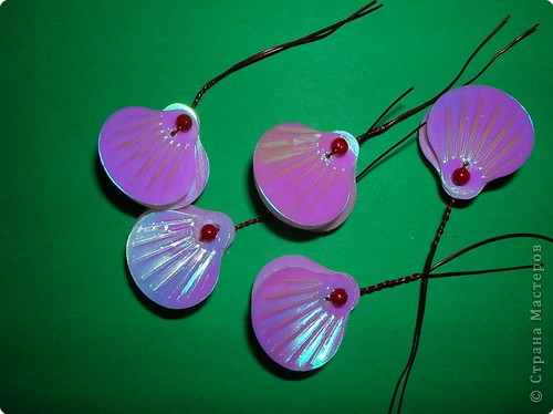 "Мастер-класс: цветы из пайеток ""ракушек"" МК Пайетки. Фото 13"