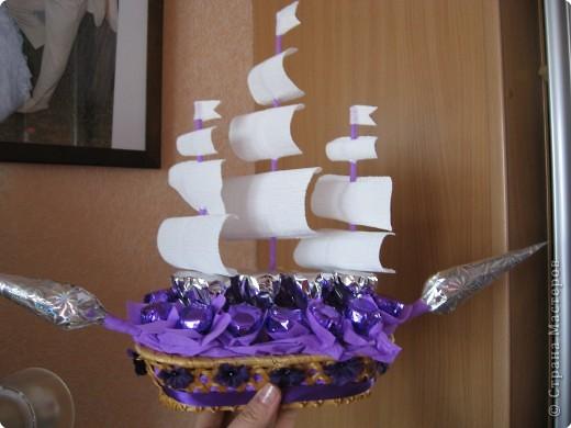 Кораблик из конфет видео