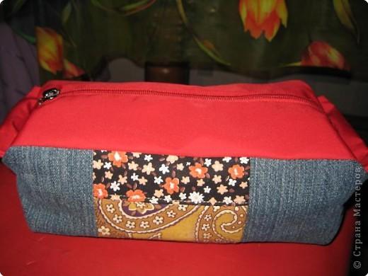 Поделка, изделие, Шитьё, : Косметичка из старых джинсов.  Ткань .