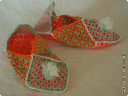 Декор предметов Вязание крючком: Тапочки из квадратов Пряжа.  Фото 2.