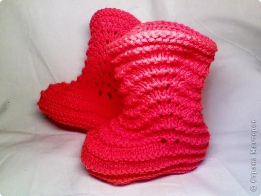 Поделка Вязание: Пинетки-сапожки Пряжа. Фото 1