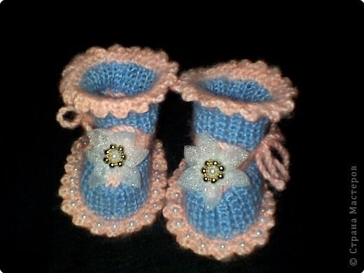 Вязание: МК пинетки с бусинками