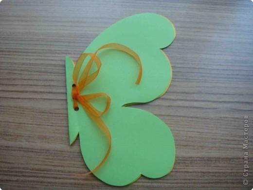 Поделка, изделие Аппликация, Вырезание: Бабочки по одному трафарету. Бумага, Картон, Ленты, Проволока. Фото 7