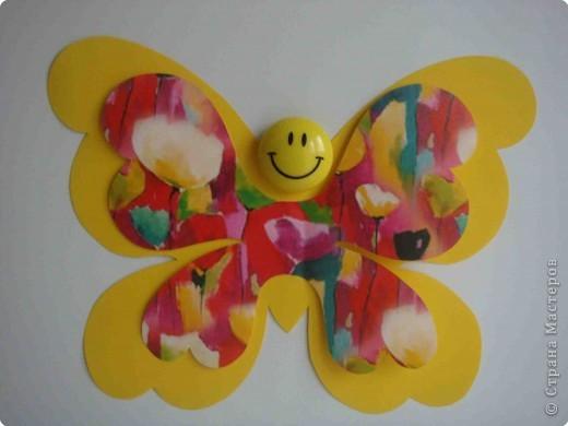 Поделка, изделие Аппликация, Вырезание: Бабочки по одному трафарету. Бумага, Картон, Ленты, Проволока. Фото 6