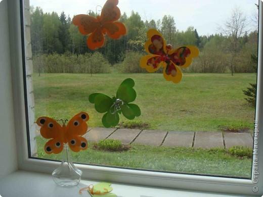 Поделка, изделие Аппликация, Вырезание: Бабочки по одному трафарету. Бумага, Картон, Ленты, Проволока. Фото 8