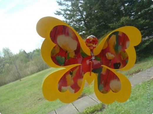 Поделка, изделие Аппликация, Вырезание: Бабочки по одному трафарету. Бумага, Картон, Ленты, Проволока. Фото 4