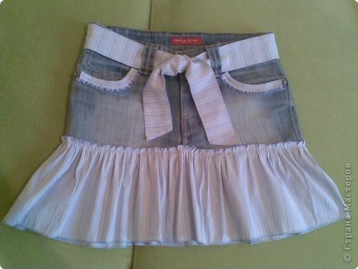 Шитьё: Юбка из старых джинс Ткань.  Фото 1.