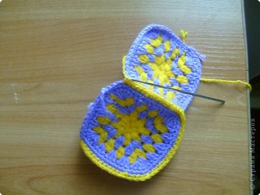 Мастер-класс Вязание крючком: МК тапочки домашние Нитки.  Фото 12.